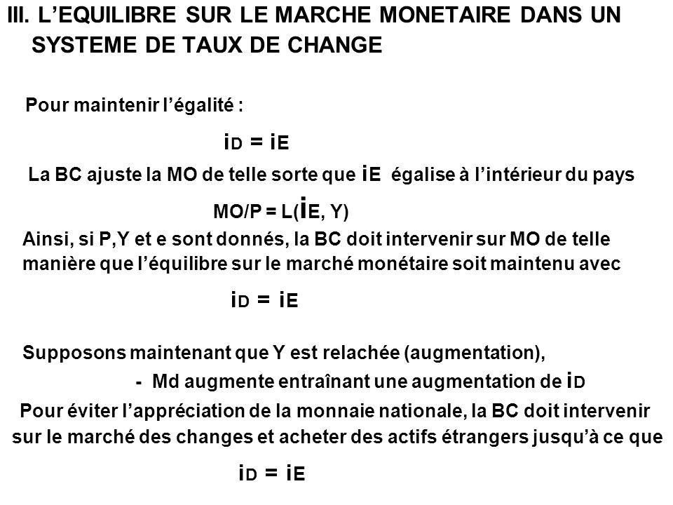 III. L'EQUILIBRE SUR LE MARCHE MONETAIRE DANS UN