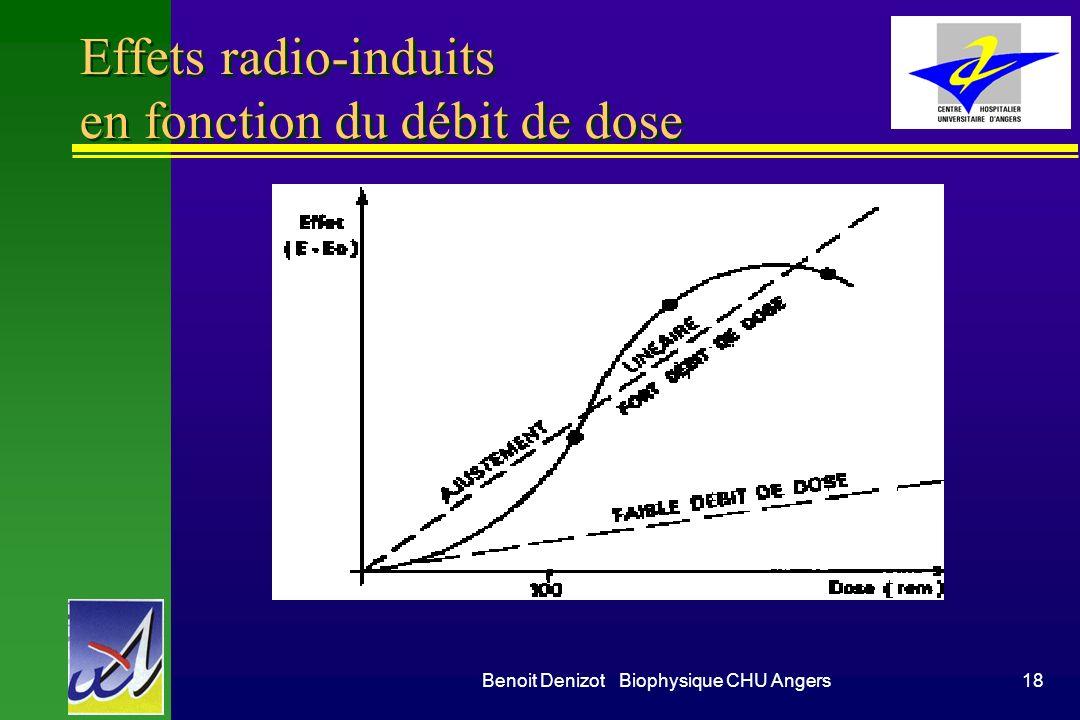 Effets radio-induits en fonction du débit de dose
