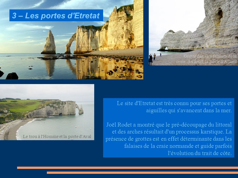 3 – Les portes d Etretat Grotte dans les falaises de la craie. Au fond, la porte d Amont. L aiguille et la porte d Aval.