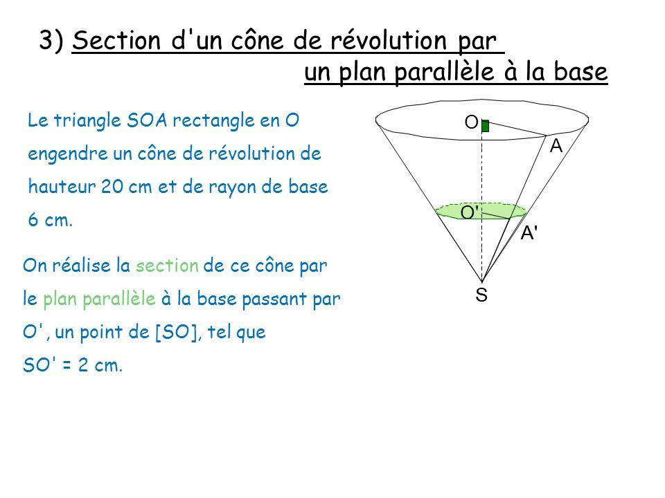 3) Section d un cône de révolution par un plan parallèle à la base