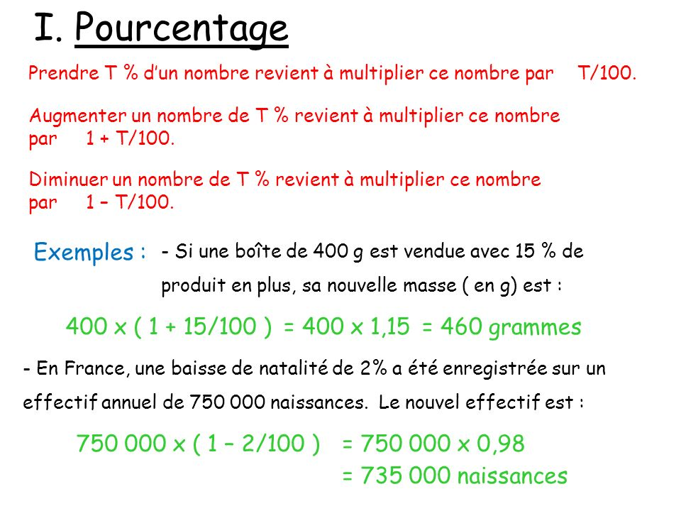 I. Pourcentage Exemples : 400 x ( 1 + 15/100 ) = 400 x 1,15