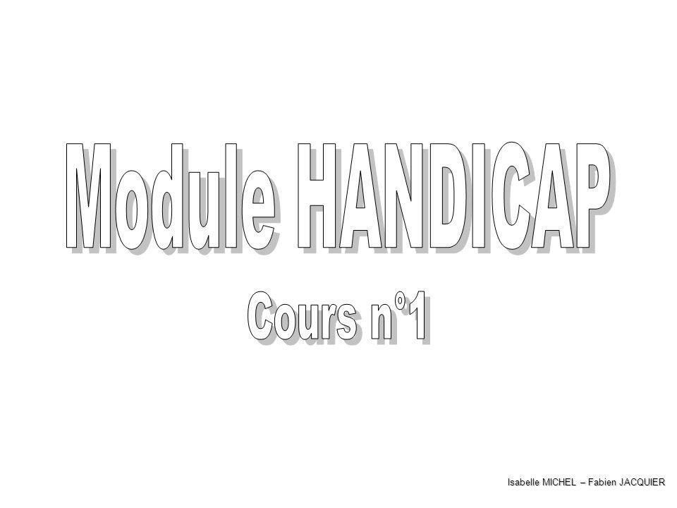 Module HANDICAP Cours n°1 Isabelle MICHEL – Fabien JACQUIER