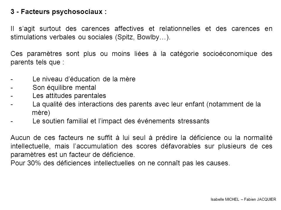 3 - Facteurs psychosociaux :