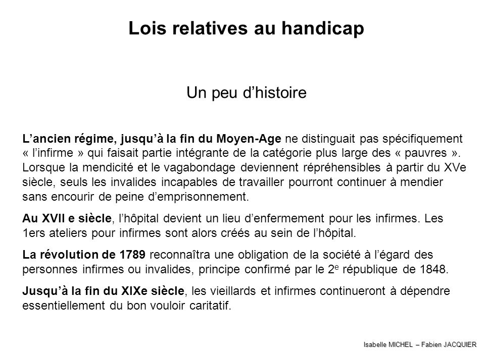 Lois relatives au handicap