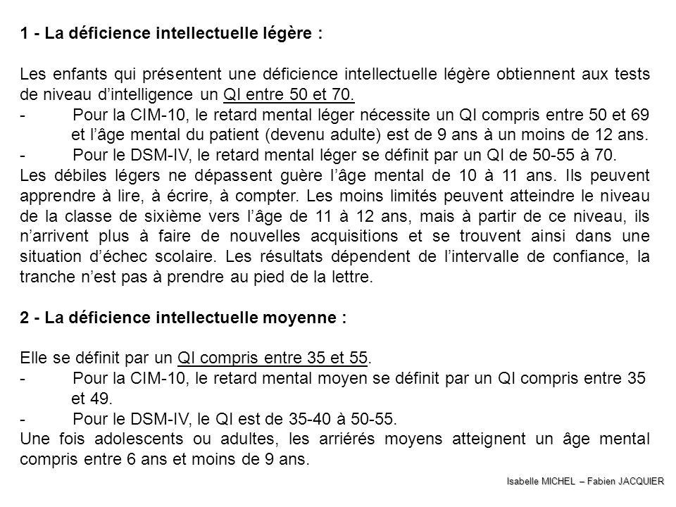 1 - La déficience intellectuelle légère :