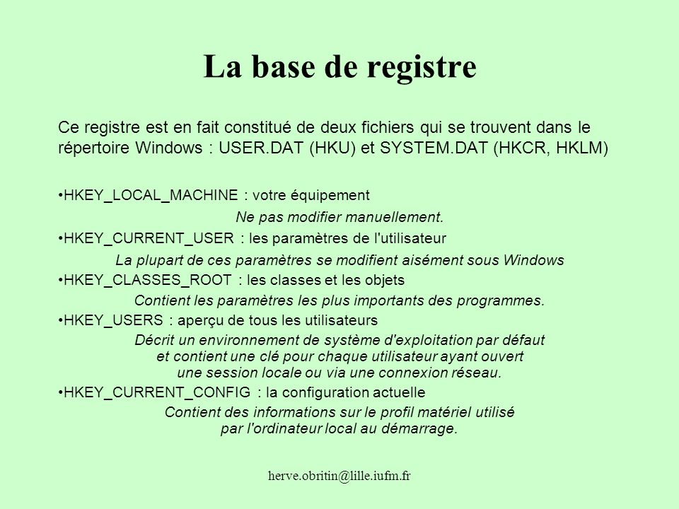 La base de registre