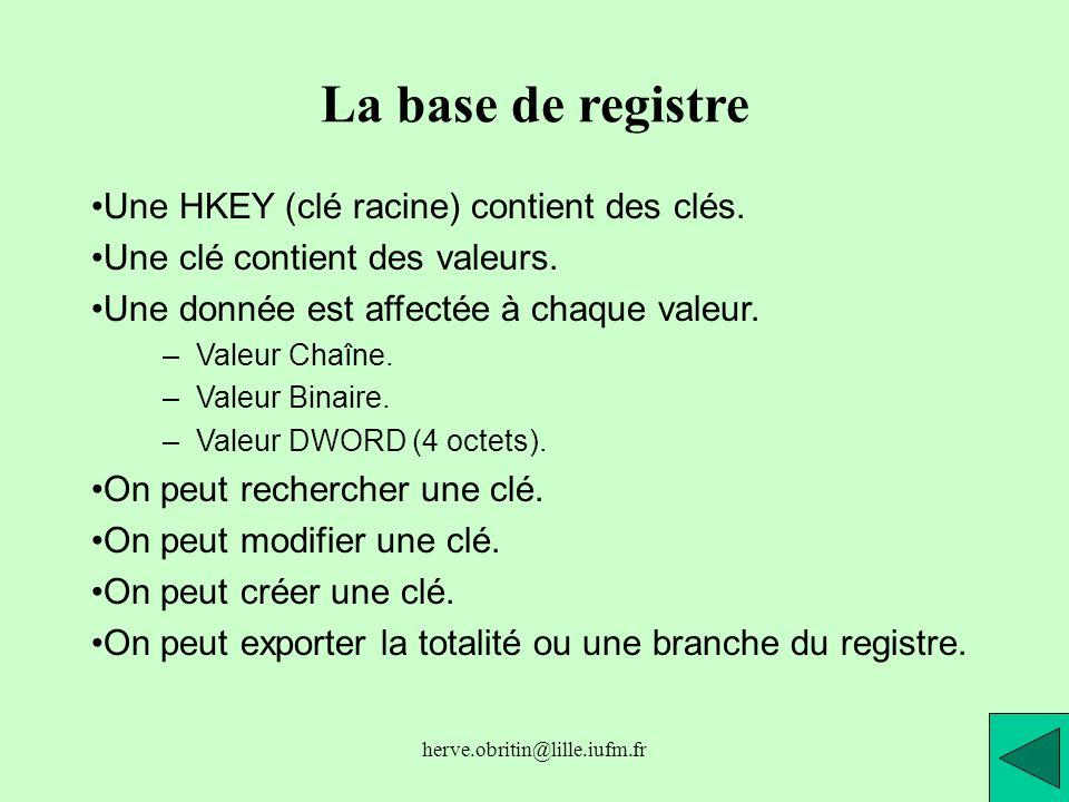 La base de registre Une HKEY (clé racine) contient des clés.