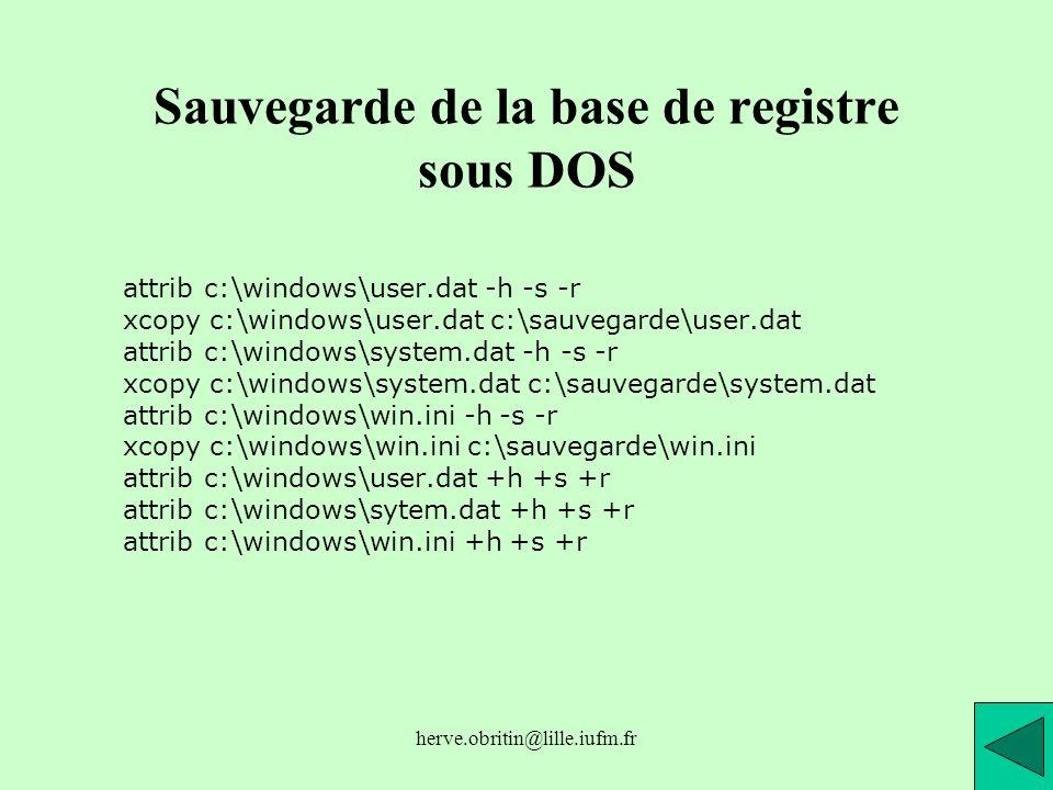 Sauvegarde de la base de registre sous DOS