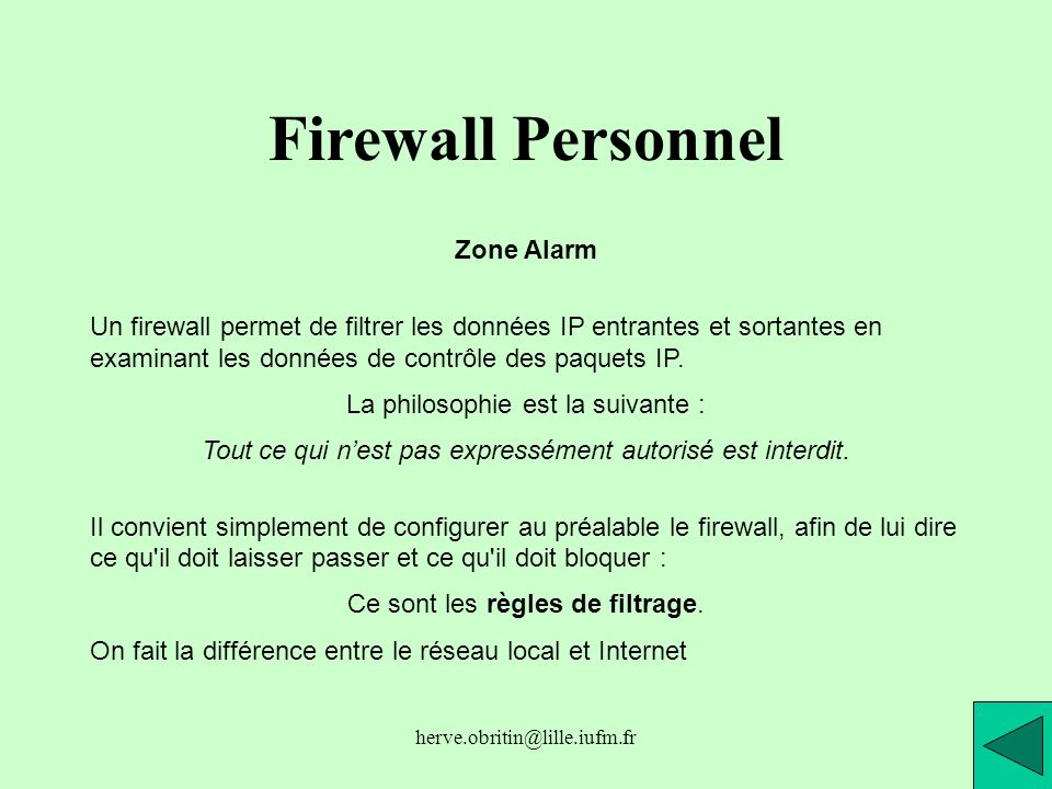 Firewall Personnel Zone Alarm
