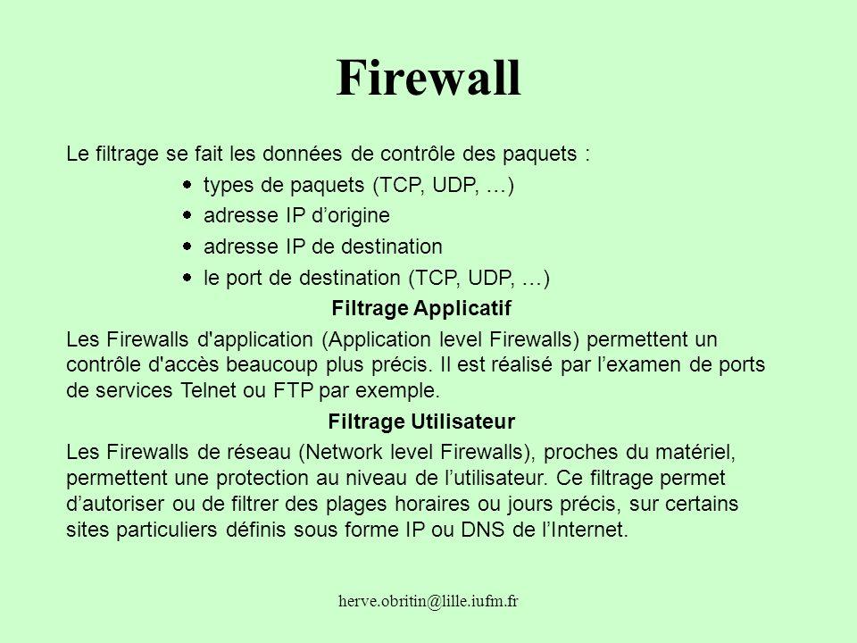 Firewall Le filtrage se fait les données de contrôle des paquets :
