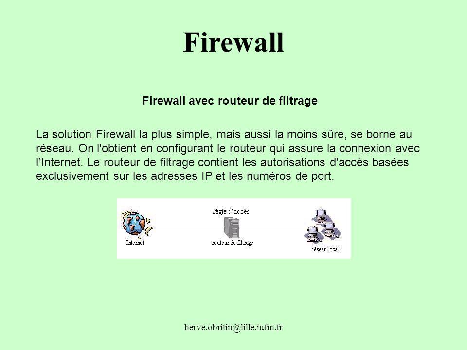 Firewall avec routeur de filtrage