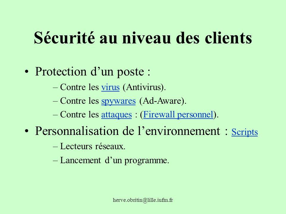 Sécurité au niveau des clients