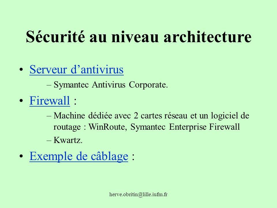 Sécurité au niveau architecture
