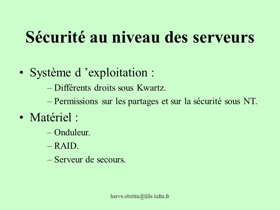 Sécurité au niveau des serveurs
