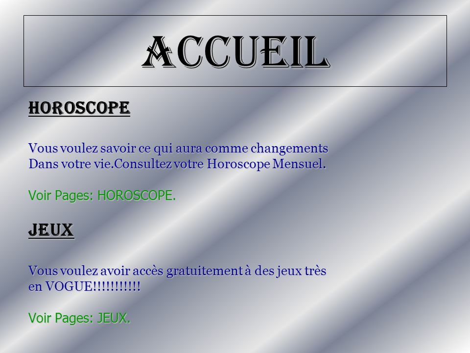 Accueil HOROSCOPE Jeux