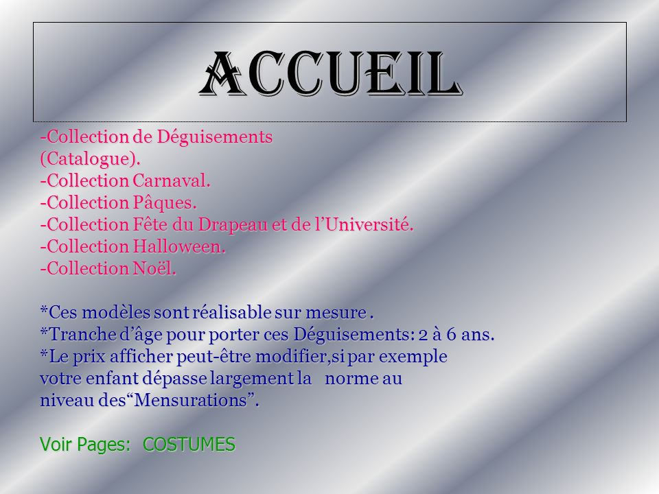 Accueil -Collection de Déguisements (Catalogue). -Collection Carnaval.