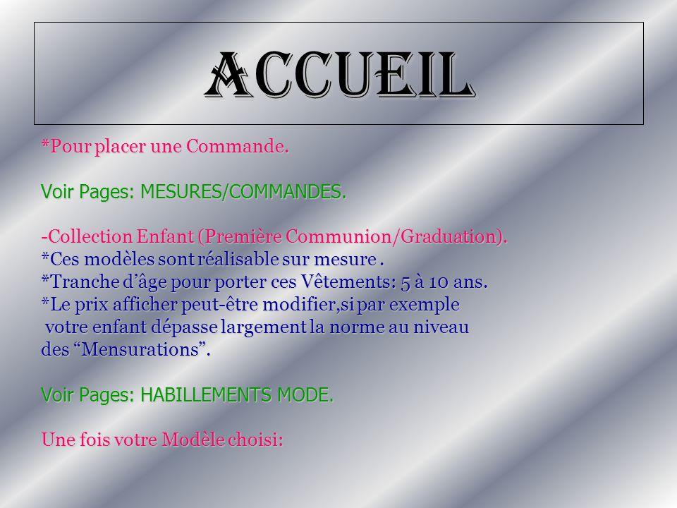 Accueil *Pour placer une Commande. Voir Pages: MESURES/COMMANDES.