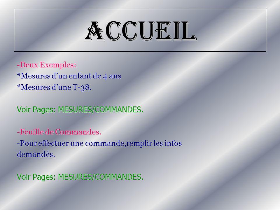 Accueil -Deux Exemples: *Mesures d'un enfant de 4 ans