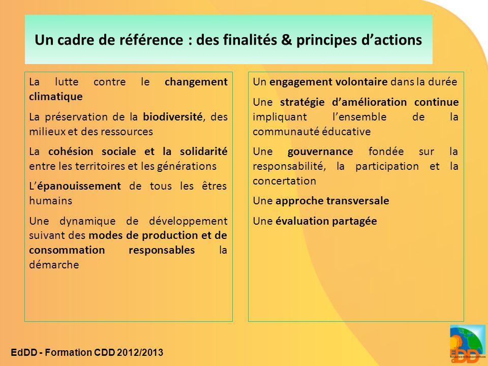 Un cadre de référence : des finalités & principes d'actions