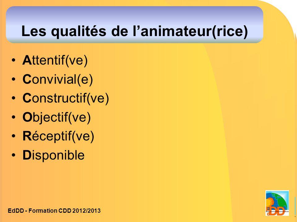 Les qualités de l'animateur(rice)
