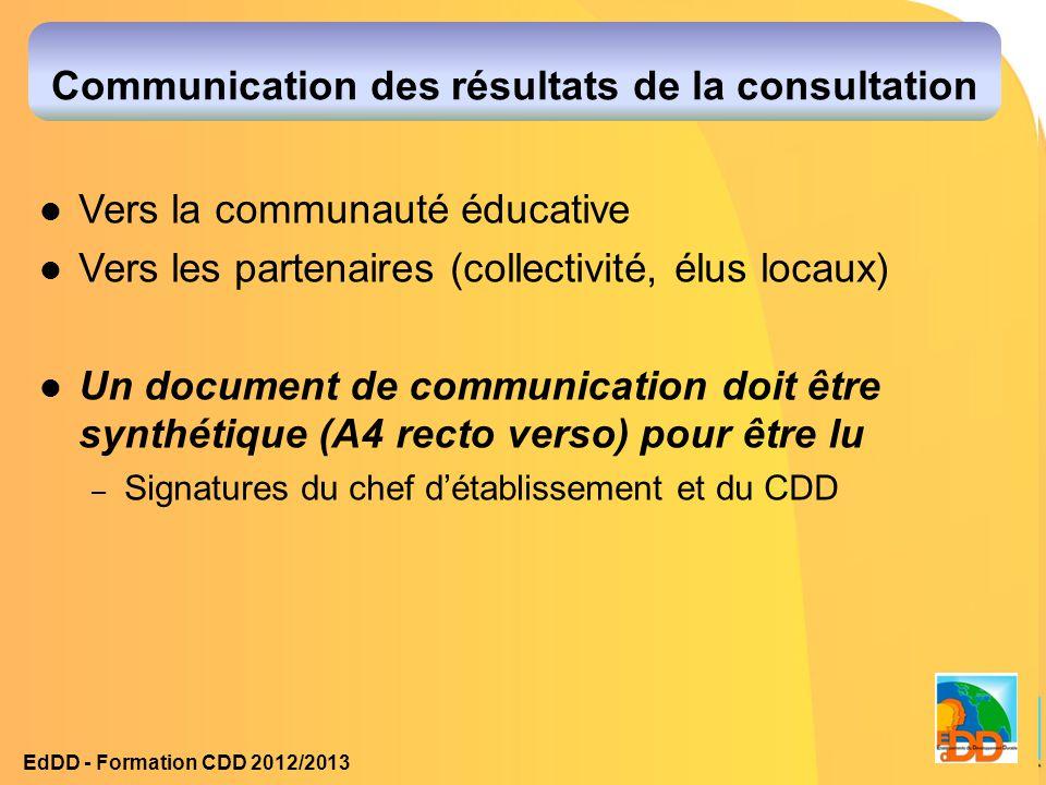 Communication des résultats de la consultation