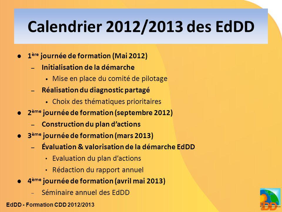 Calendrier 2012/2013 des EdDD 1ère journée de formation (Mai 2012)