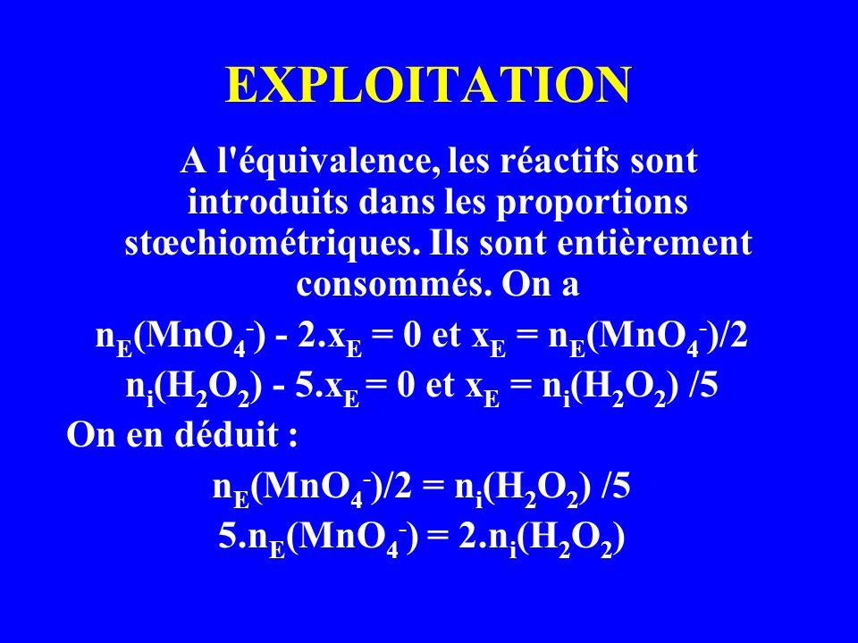 EXPLOITATION nE(MnO4-) - 2.xE = 0 et xE = nE(MnO4-)/2