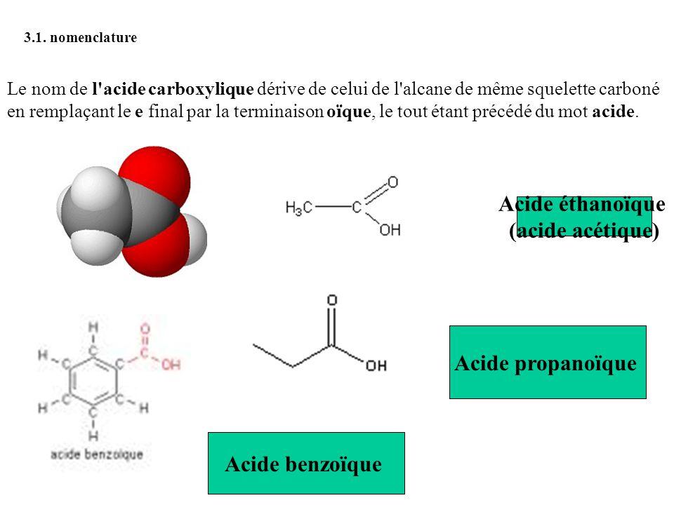 (acide acétique) Acide propanoïque Acide benzoïque