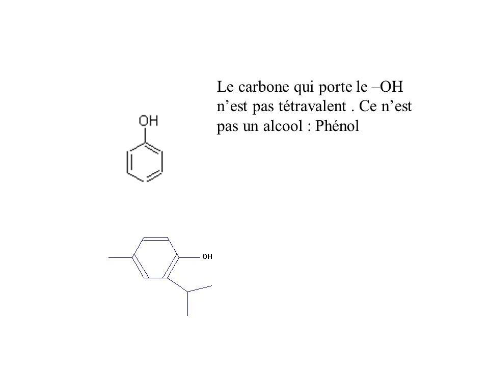 Le carbone qui porte le –OH n'est pas tétravalent