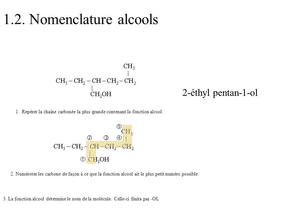 1.2. Nomenclature alcools 2-éthyl pentan-1-ol