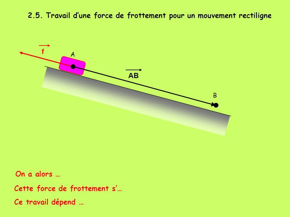 2.5. Travail d'une force de frottement pour un mouvement rectiligne