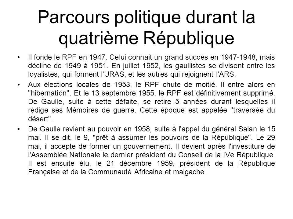 Parcours politique durant la quatrième République