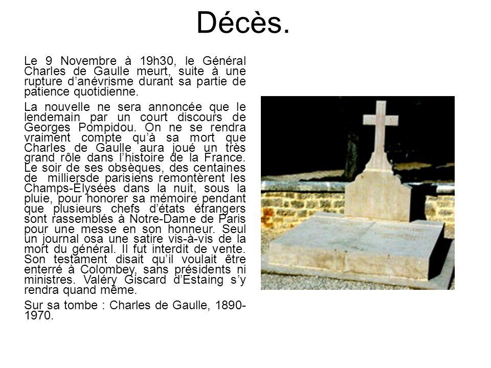Décès. Le 9 Novembre à 19h30, le Général Charles de Gaulle meurt, suite à une rupture d'anévrisme durant sa partie de patience quotidienne.