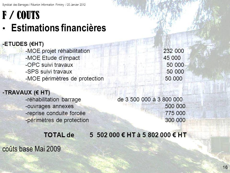 F / COUTS Estimations financières coûts base Mai 2009