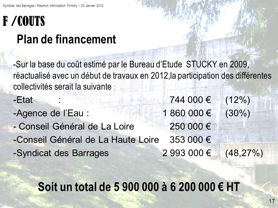 F /COUTS Plan de financement