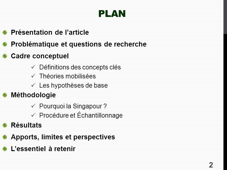 Plan Présentation de l'article Problématique et questions de recherche