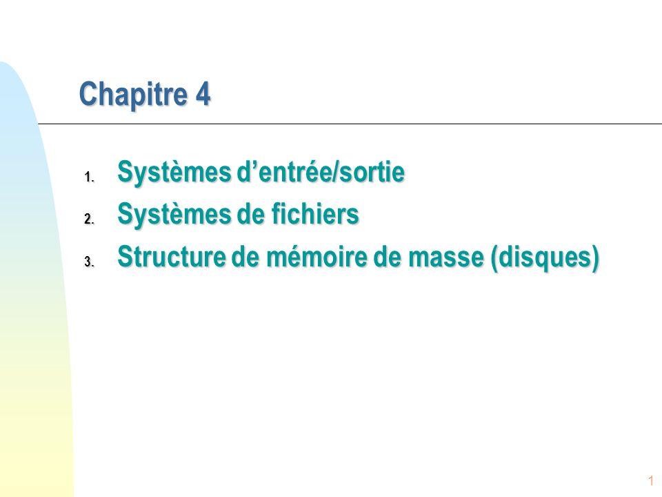 Chapitre 4 Systèmes d'entrée/sortie Systèmes de fichiers