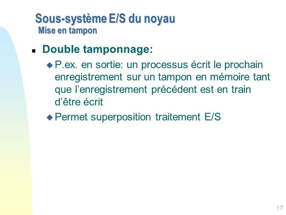 Sous-système E/S du noyau Mise en tampon