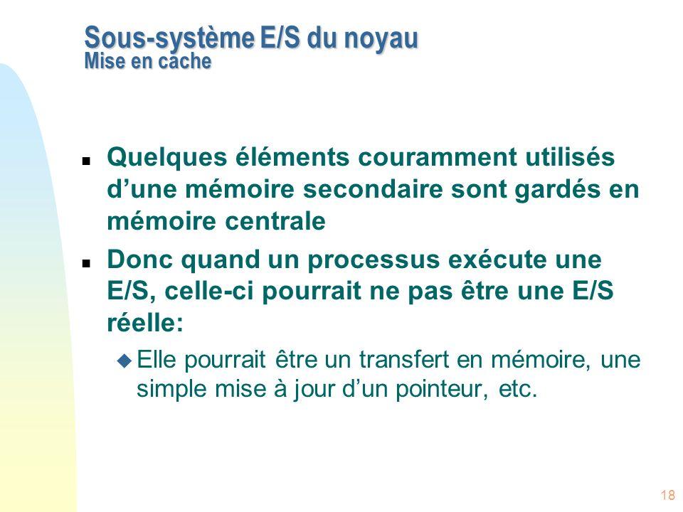 Sous-système E/S du noyau Mise en cache