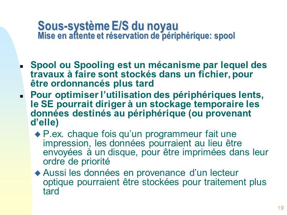 Sous-système E/S du noyau Mise en attente et réservation de périphérique: spool