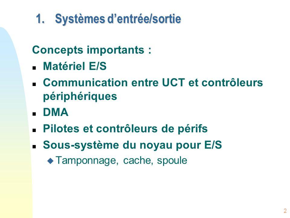 Systèmes d'entrée/sortie