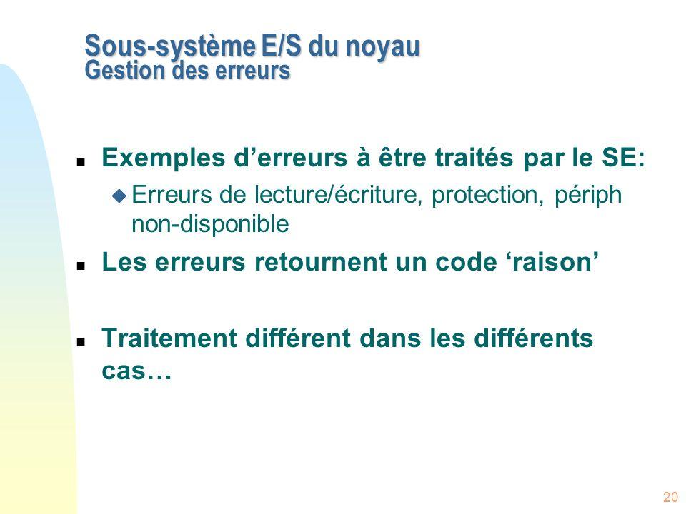 Sous-système E/S du noyau Gestion des erreurs