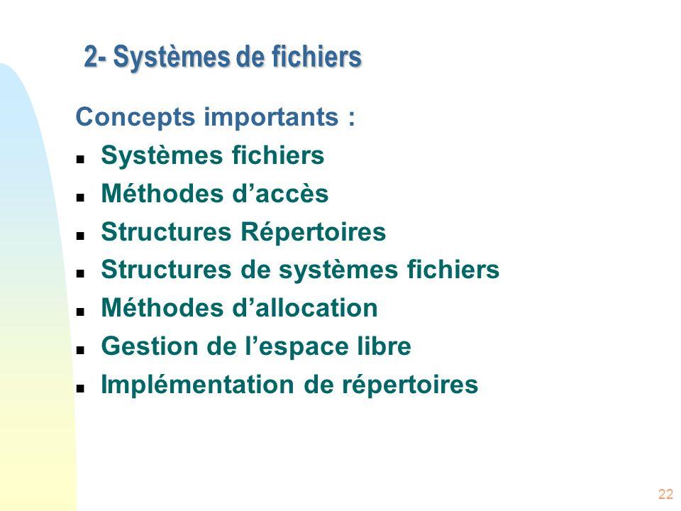 2- Systèmes de fichiers Concepts importants : Systèmes fichiers
