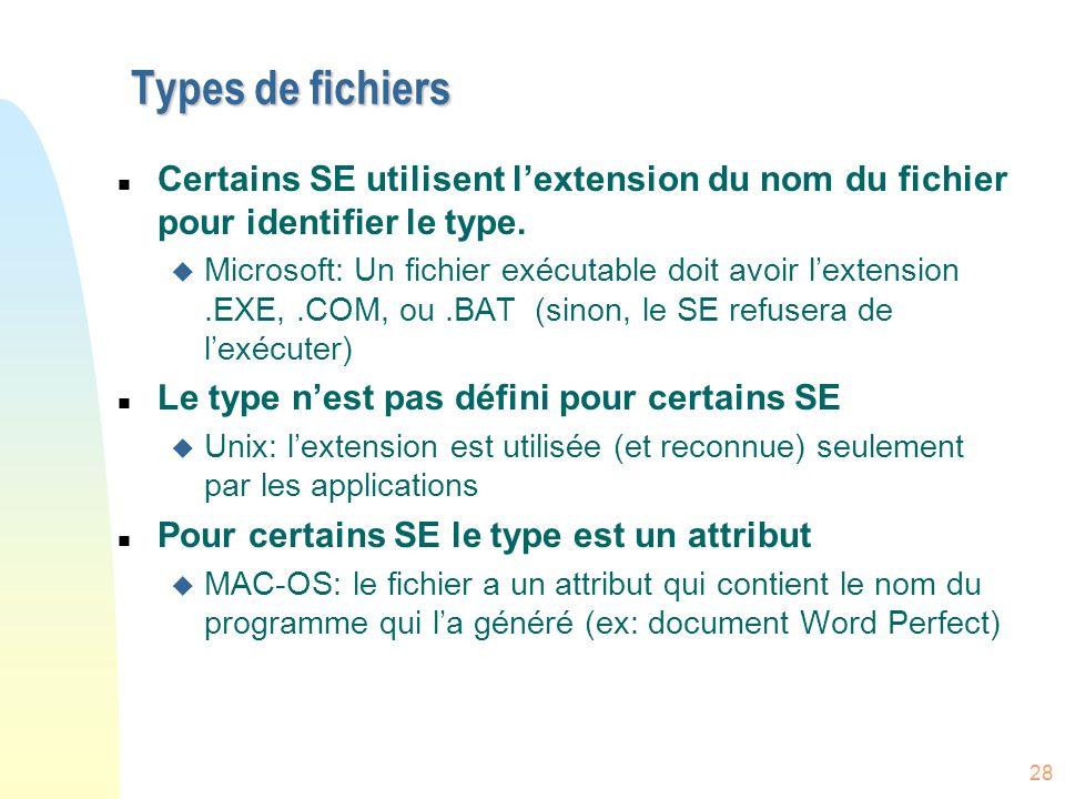 Types de fichiers Certains SE utilisent l'extension du nom du fichier pour identifier le type.