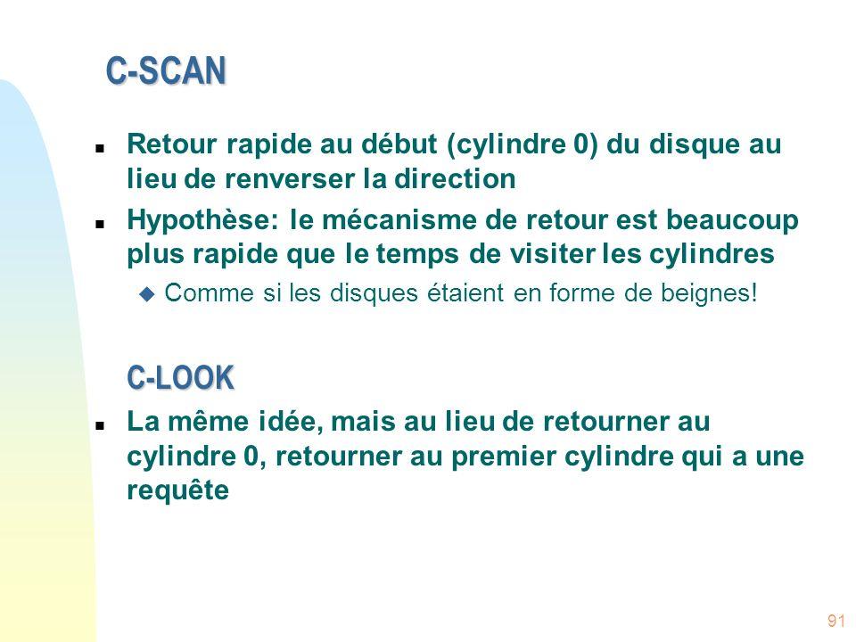 C-SCANRetour rapide au début (cylindre 0) du disque au lieu de renverser la direction.