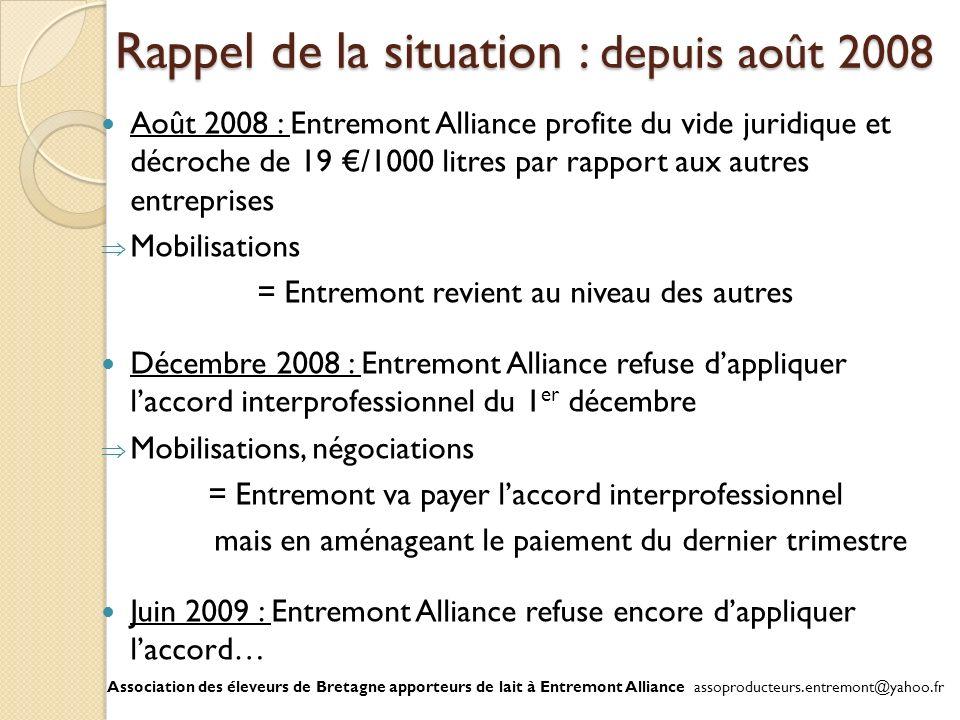 Rappel de la situation : depuis août 2008