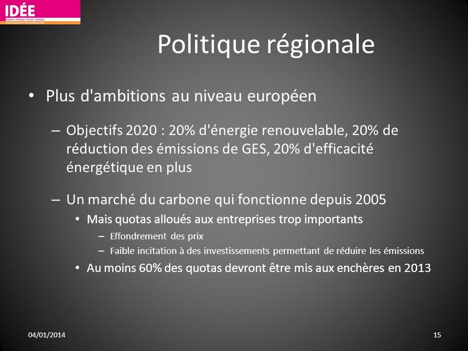 Politique régionale Plus d ambitions au niveau européen