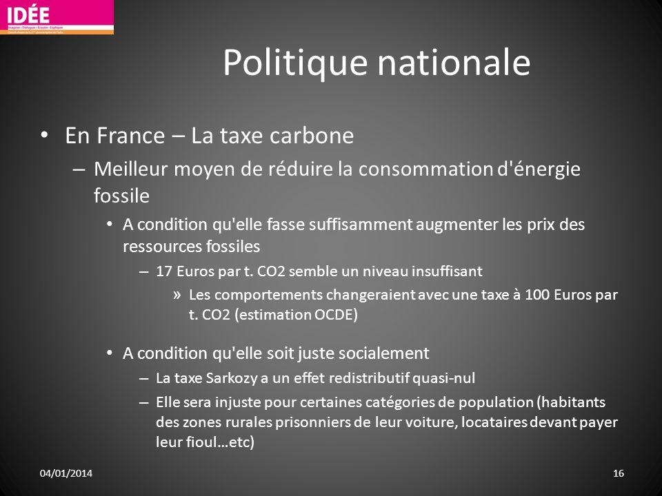 Politique nationale En France – La taxe carbone