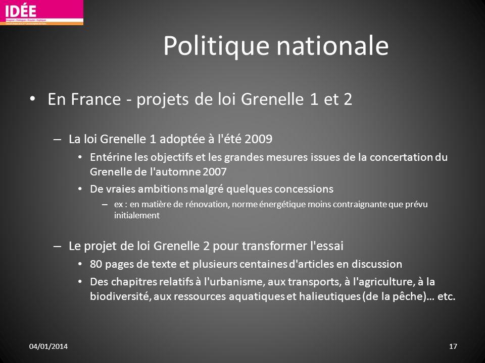 Politique nationale En France - projets de loi Grenelle 1 et 2