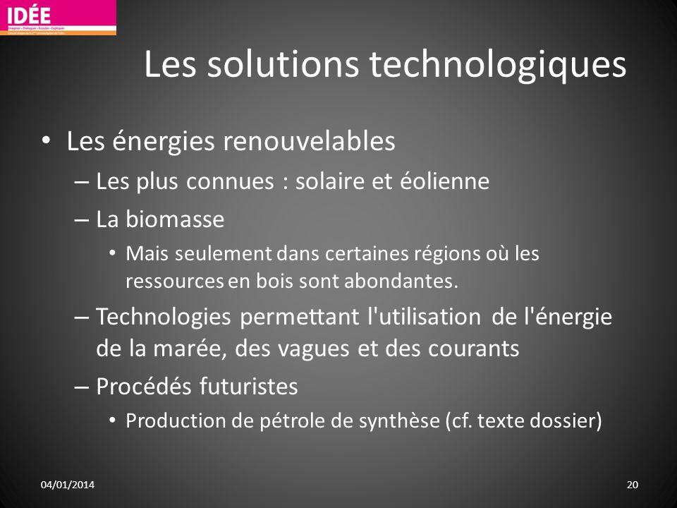 Les solutions technologiques